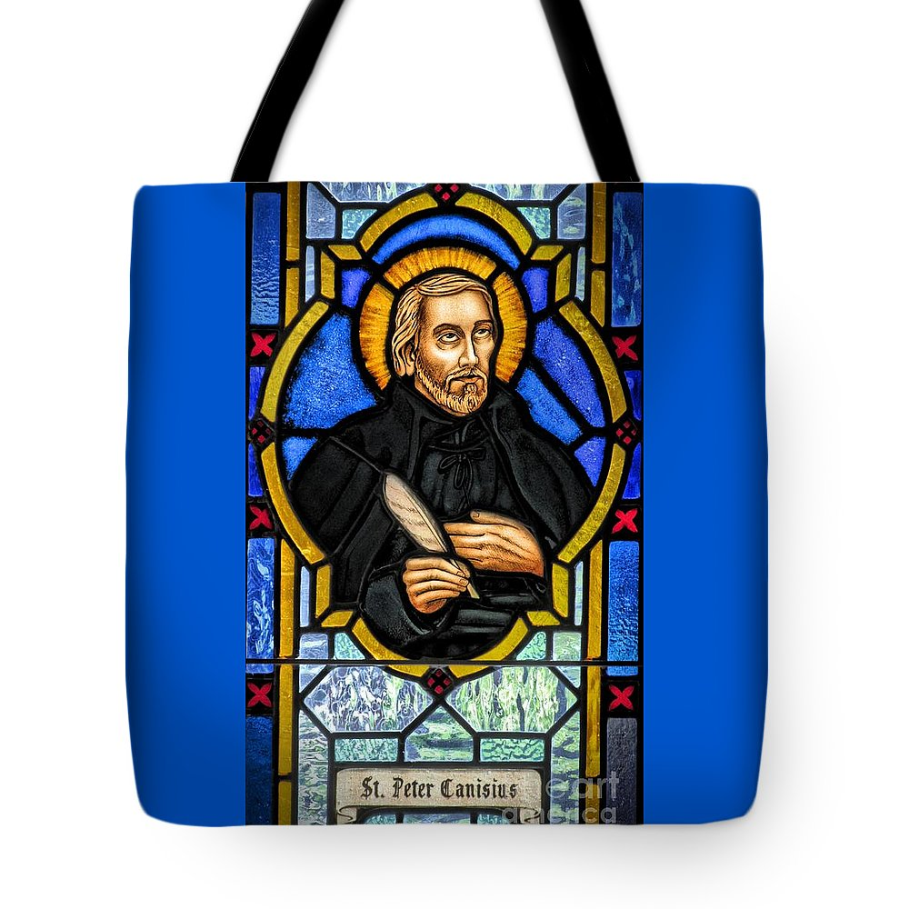Stained Glass Window Tote Bag featuring the photograph Saint Peter Canisius by Elizabeth Duggan