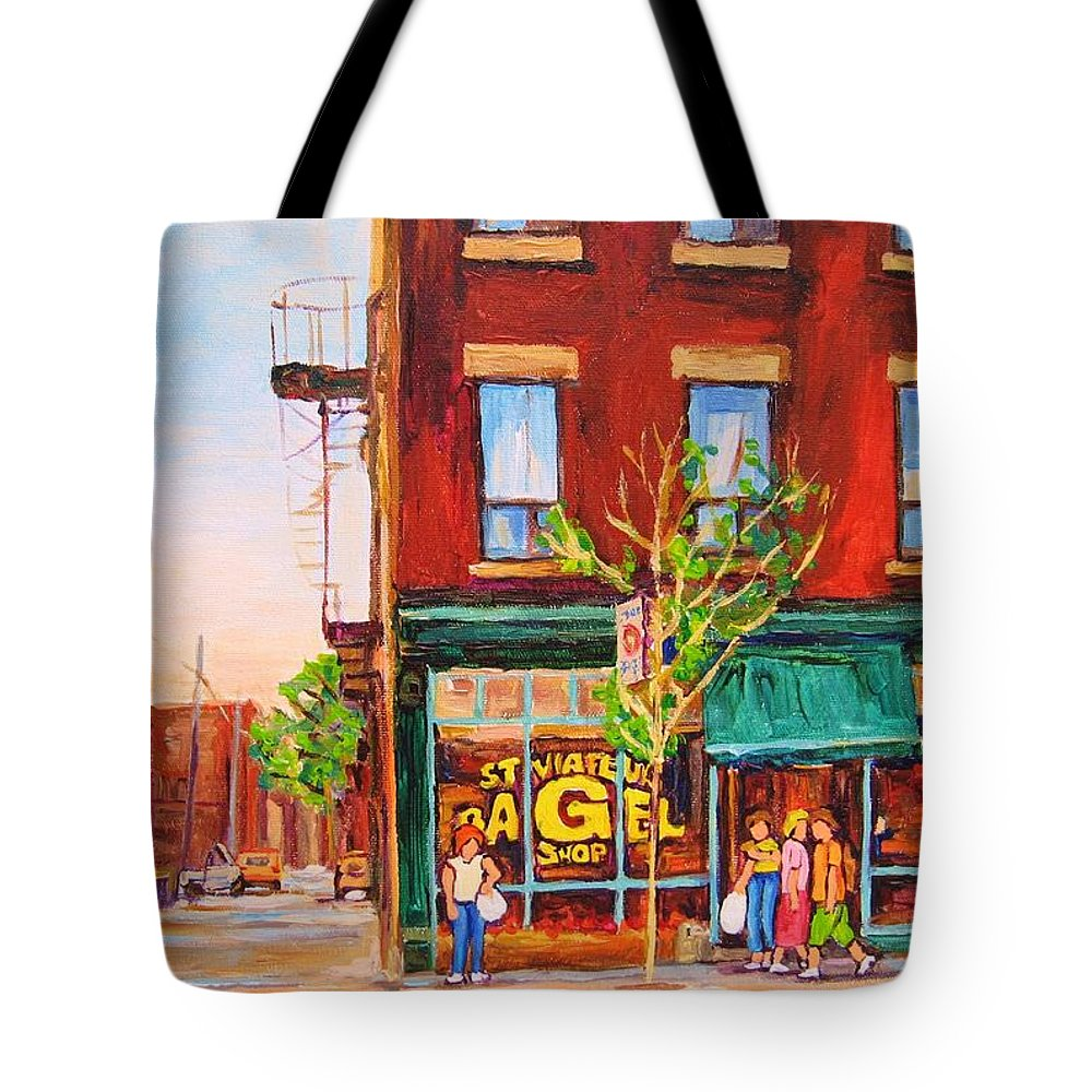 Montreal Tote Bag featuring the painting Saint Viateur Bagel by Carole Spandau