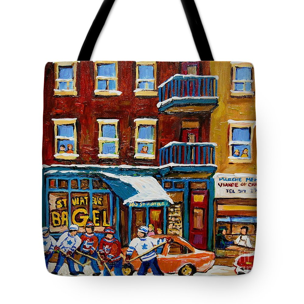 Montreal Tote Bag featuring the painting Saint Viateur Bagel With Hockey by Carole Spandau