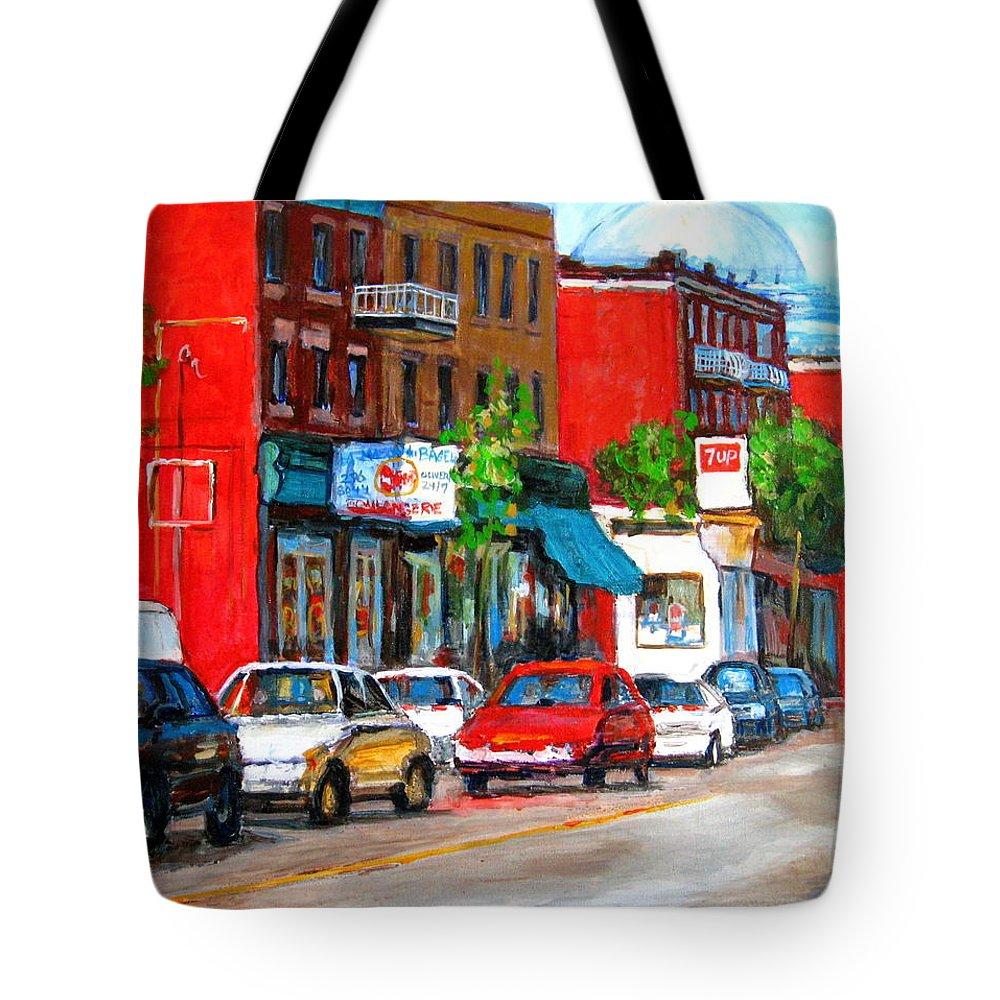 St.viateur Bagel Tote Bag featuring the painting Saint Viateur Street by Carole Spandau