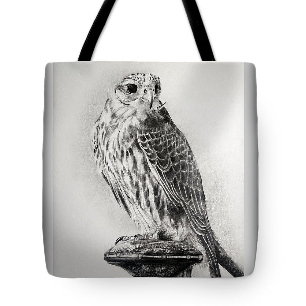 Falcon Tote Bag featuring the drawing Saker Falcon by Atish Banerjee