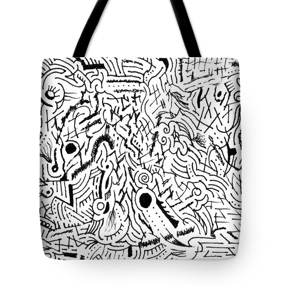 Mazes Tote Bag featuring the drawing Salacity by Steven Natanson