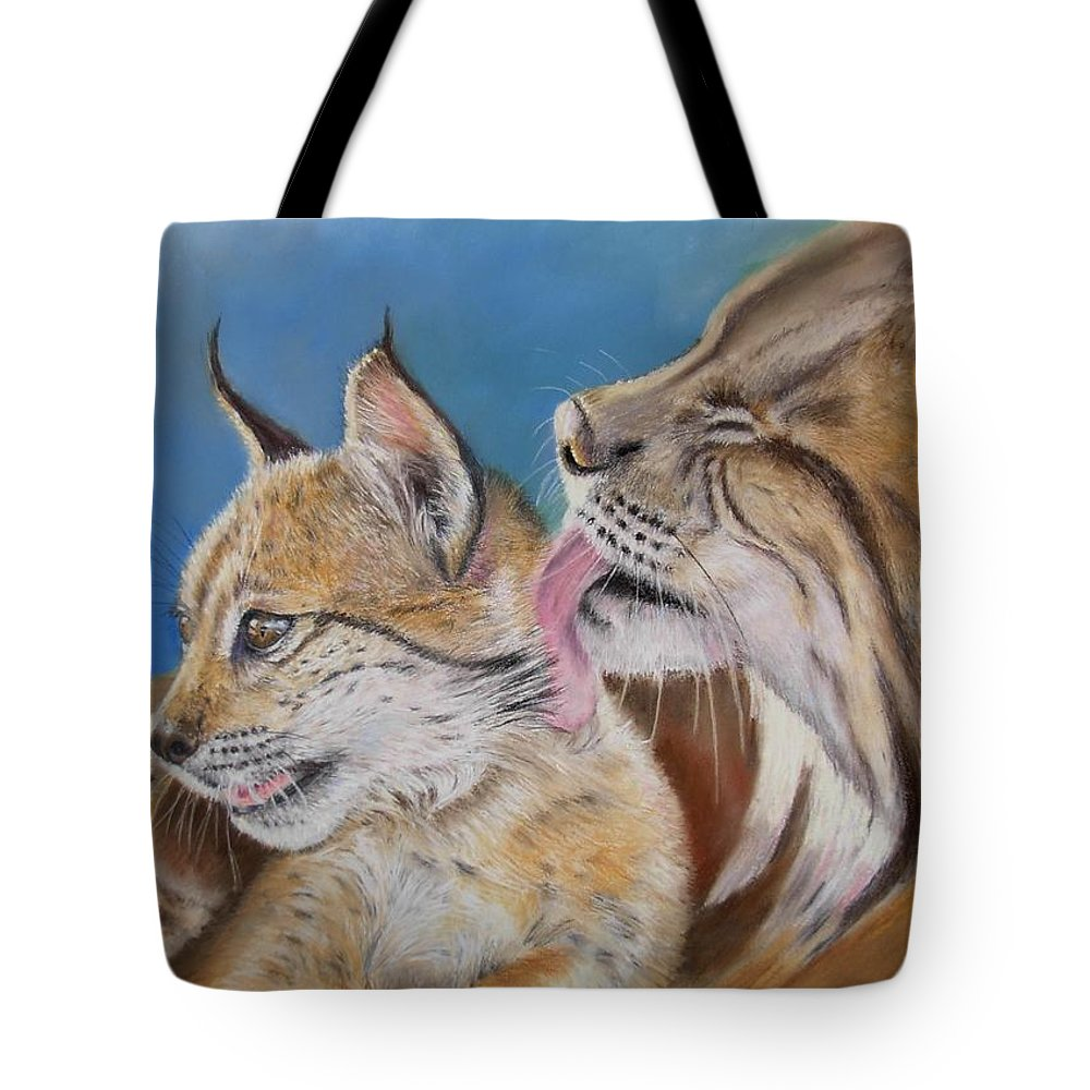 Iberian Lynx Tote Bag featuring the painting Saliega Y Brezo by Ceci Watson