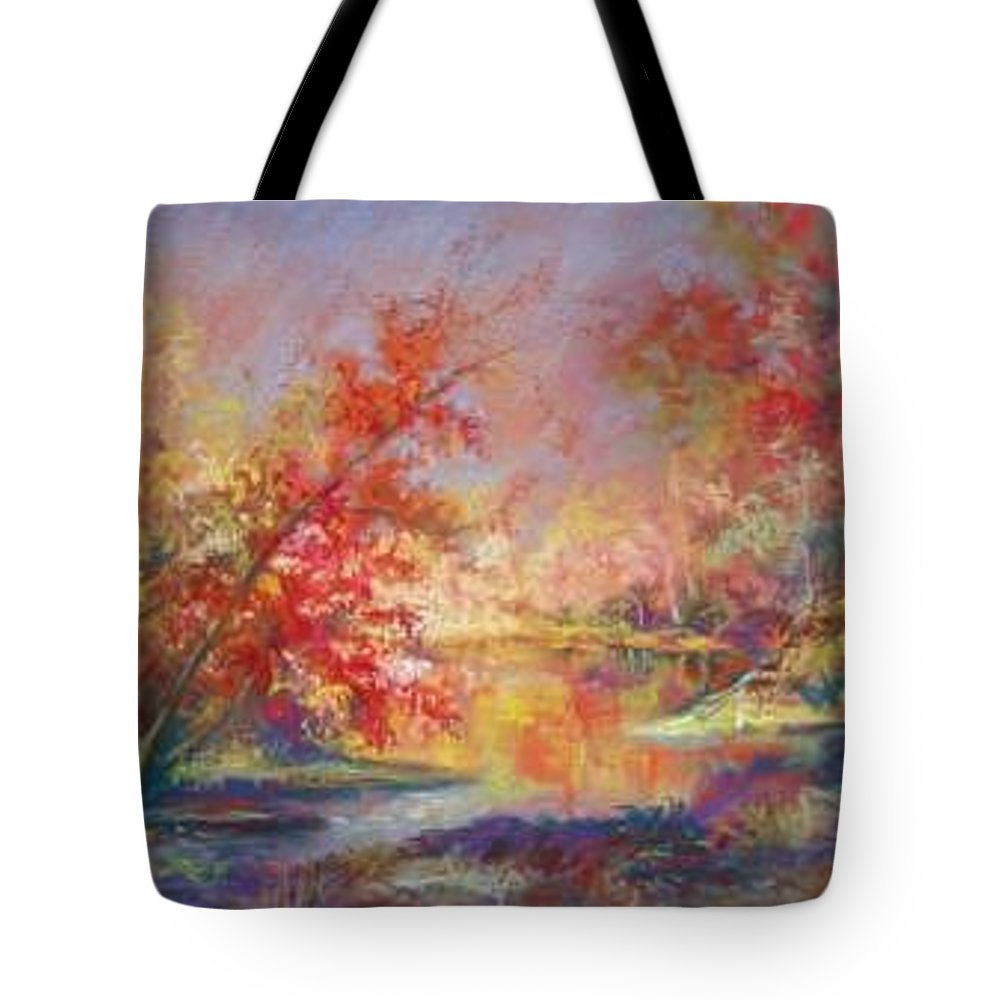 Landscape In Autumn Tote Bag featuring the painting Saline River View by Marlene Gremillion