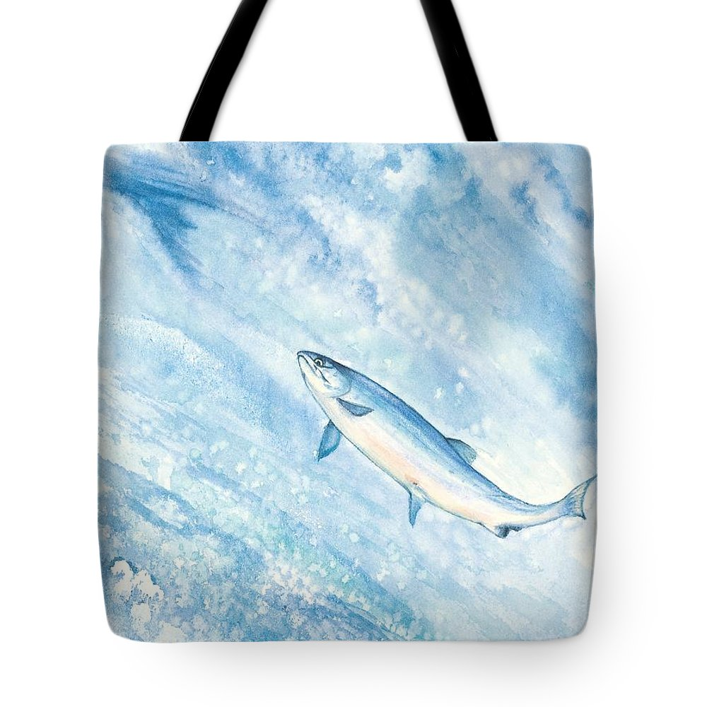 Fish Tote Bag featuring the painting Salmon by Mary Tuomi
