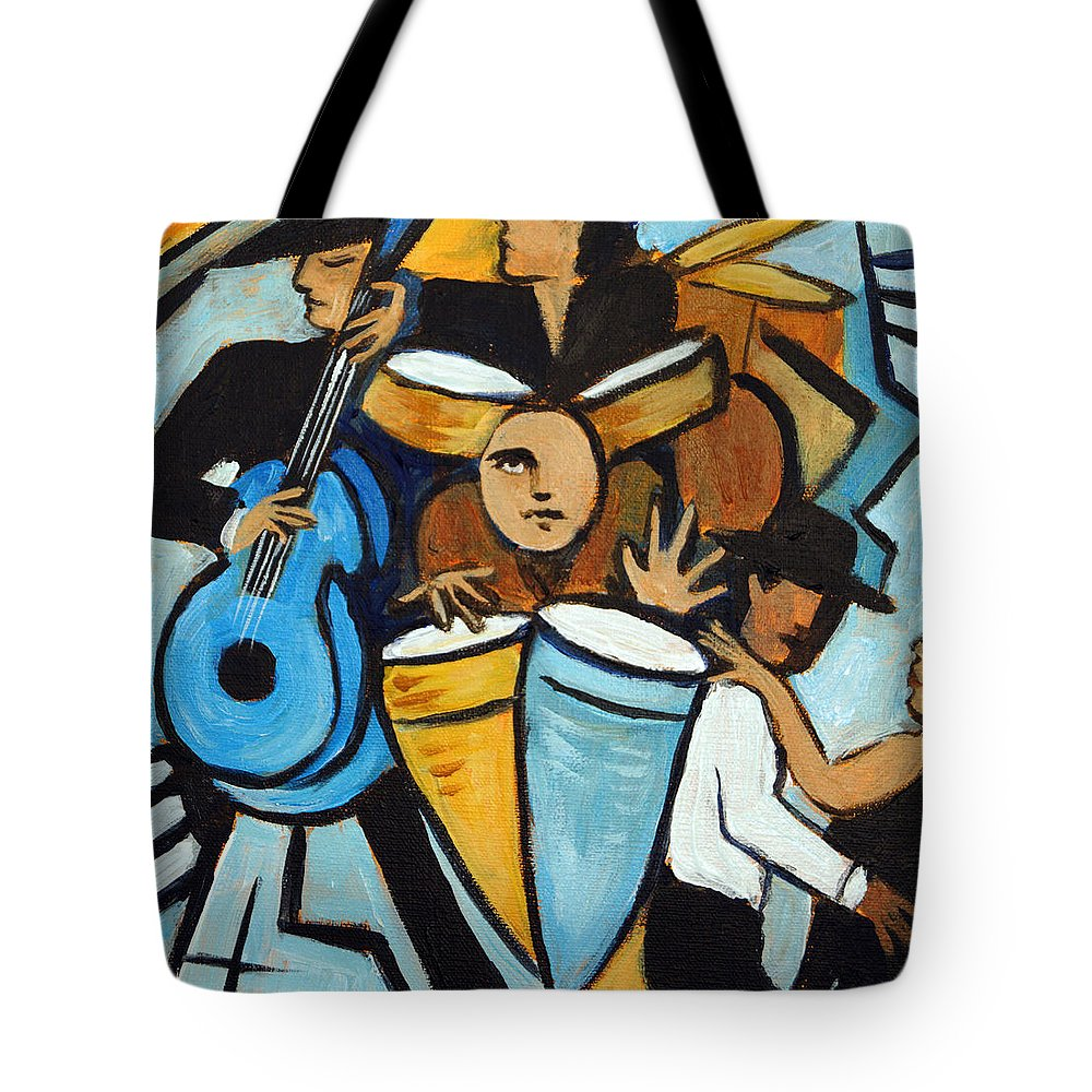 Cubist Salsa Dancers Tote Bag featuring the painting Salsa Night by Valerie Vescovi