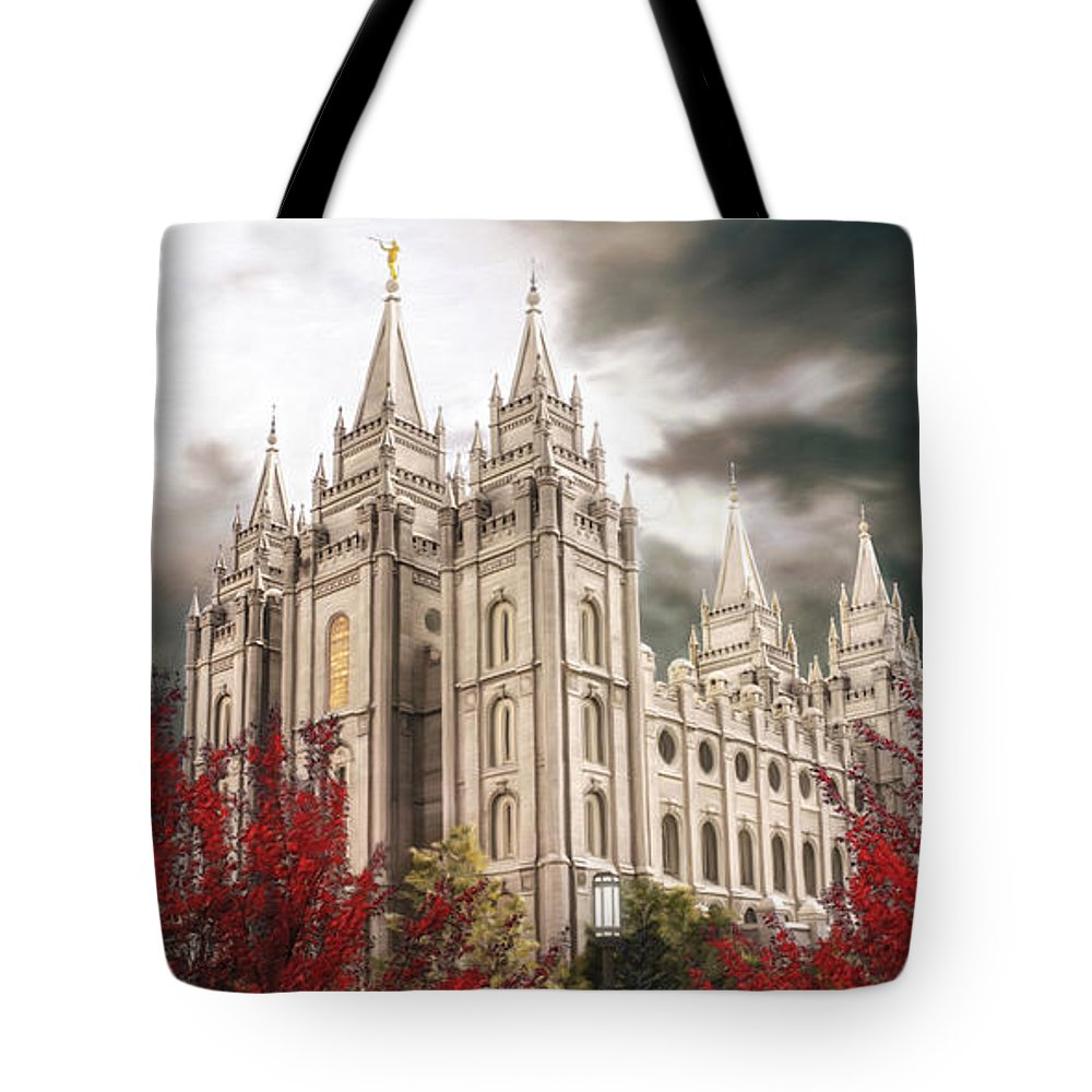 Salt Lake Tote Bag featuring the painting Salt Lake Temple - A Light in the Storm by Brent Borup