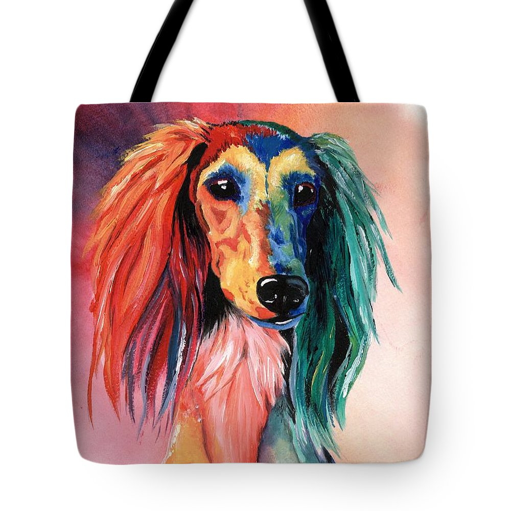 Saluki Tote Bag featuring the painting Saluki Sunset by Kathleen Sepulveda