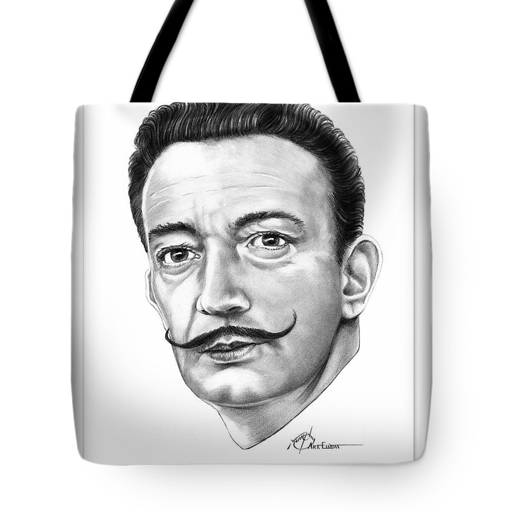 Drawing Tote Bag featuring the drawing Salvador Dali by Murphy Elliott