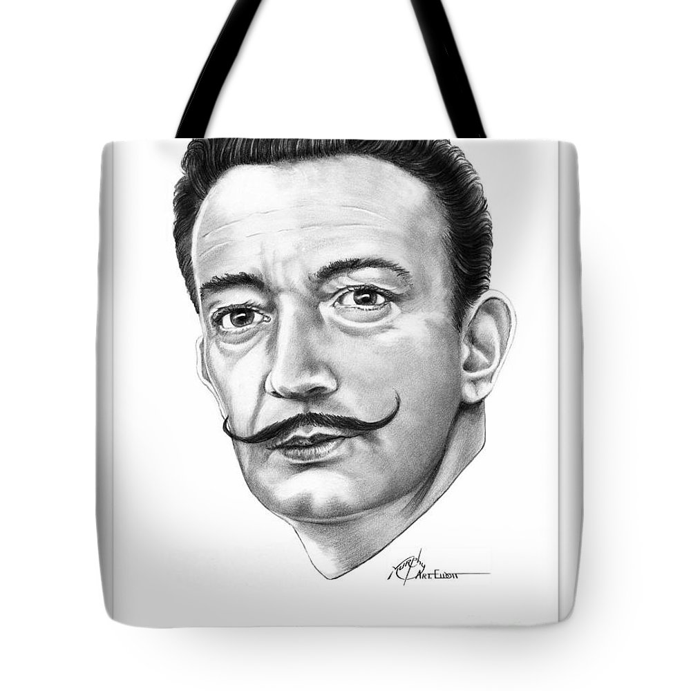 Salvador Dali Tote Bag featuring the drawing Salvador Dali by Murphy Elliott