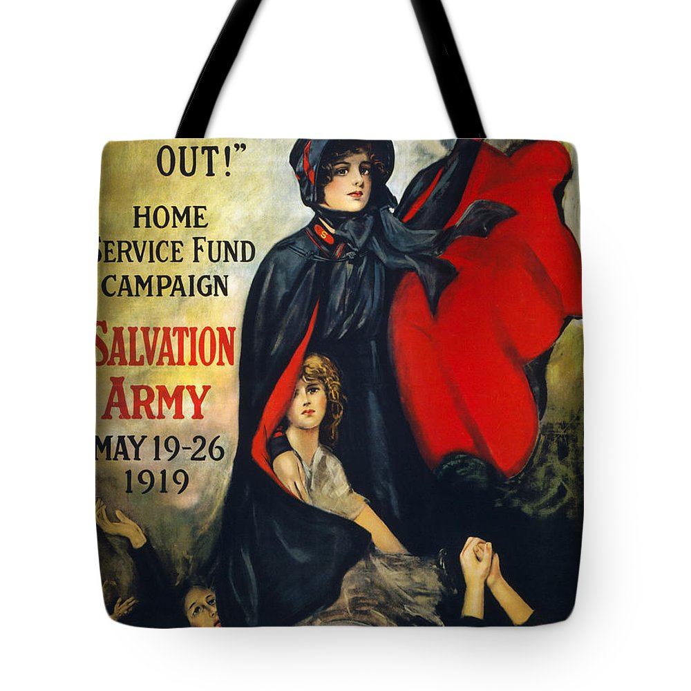 1919 Tote Bag featuring the photograph Salvation Army Poster, 1919 by Granger