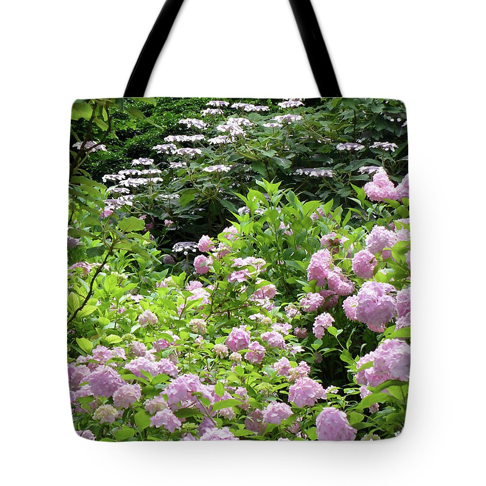 Austria Tote Bag featuring the photograph Pink Hydrangeas In Mirabell Garden by Carol Groenen