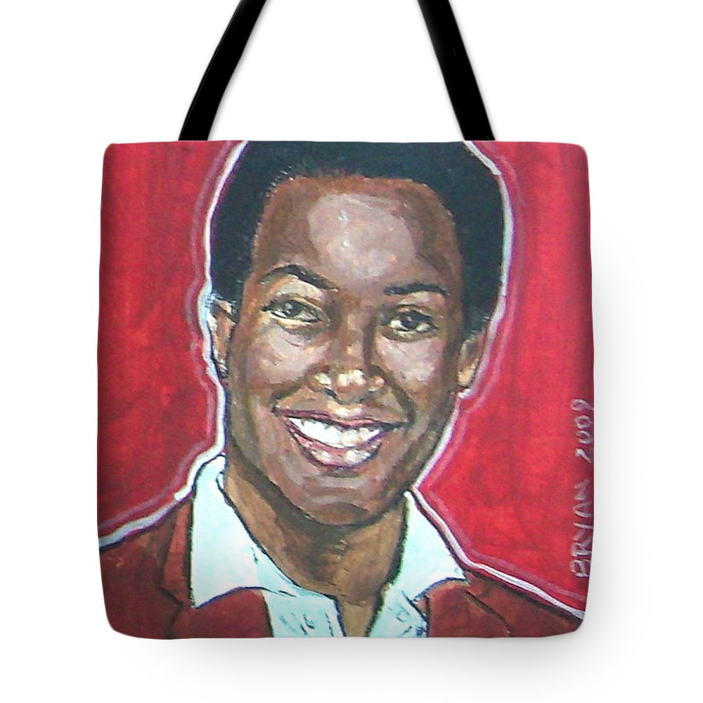 Sam Cooke Tote Bag featuring the painting Sam Cooke by Bryan Bustard