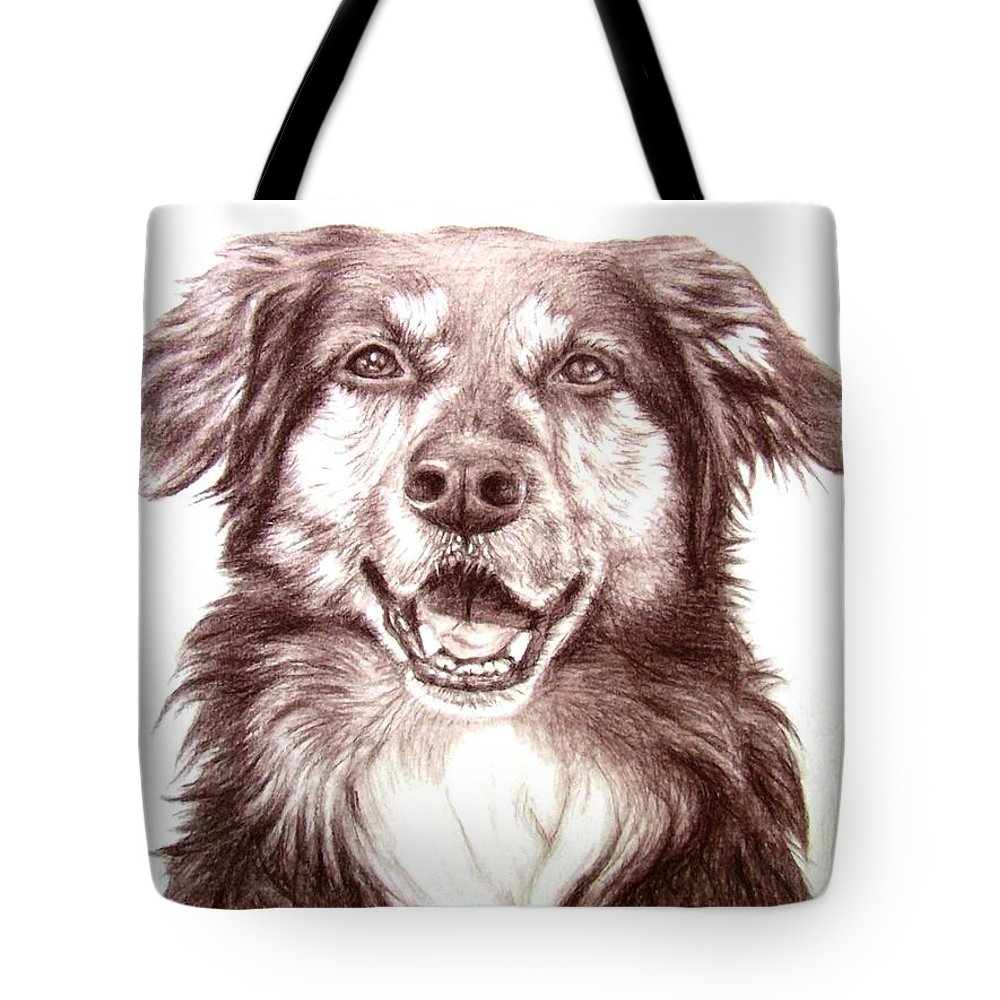 Dog Tote Bag featuring the drawing Sam by Nicole Zeug