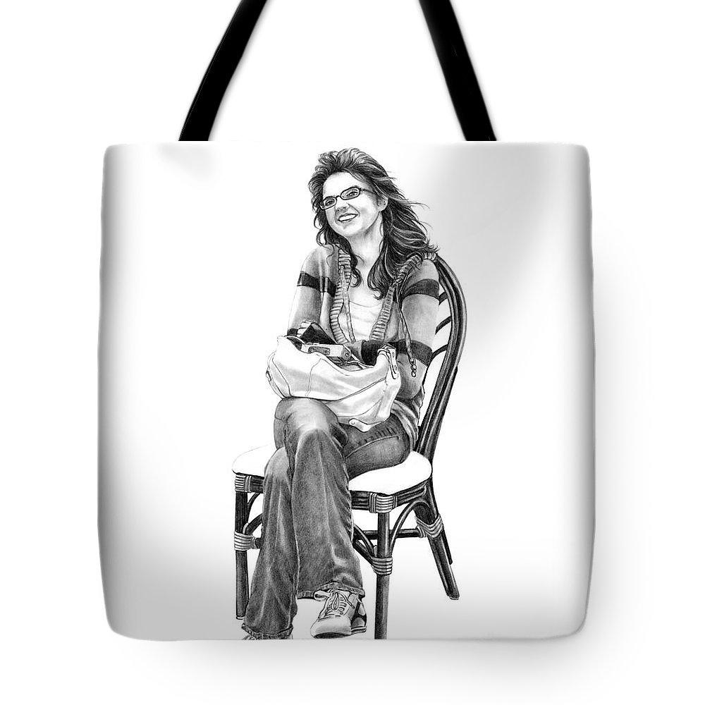 Figure Drawing Tote Bag featuring the drawing Samantha Jonice Elliott by Murphy Elliott