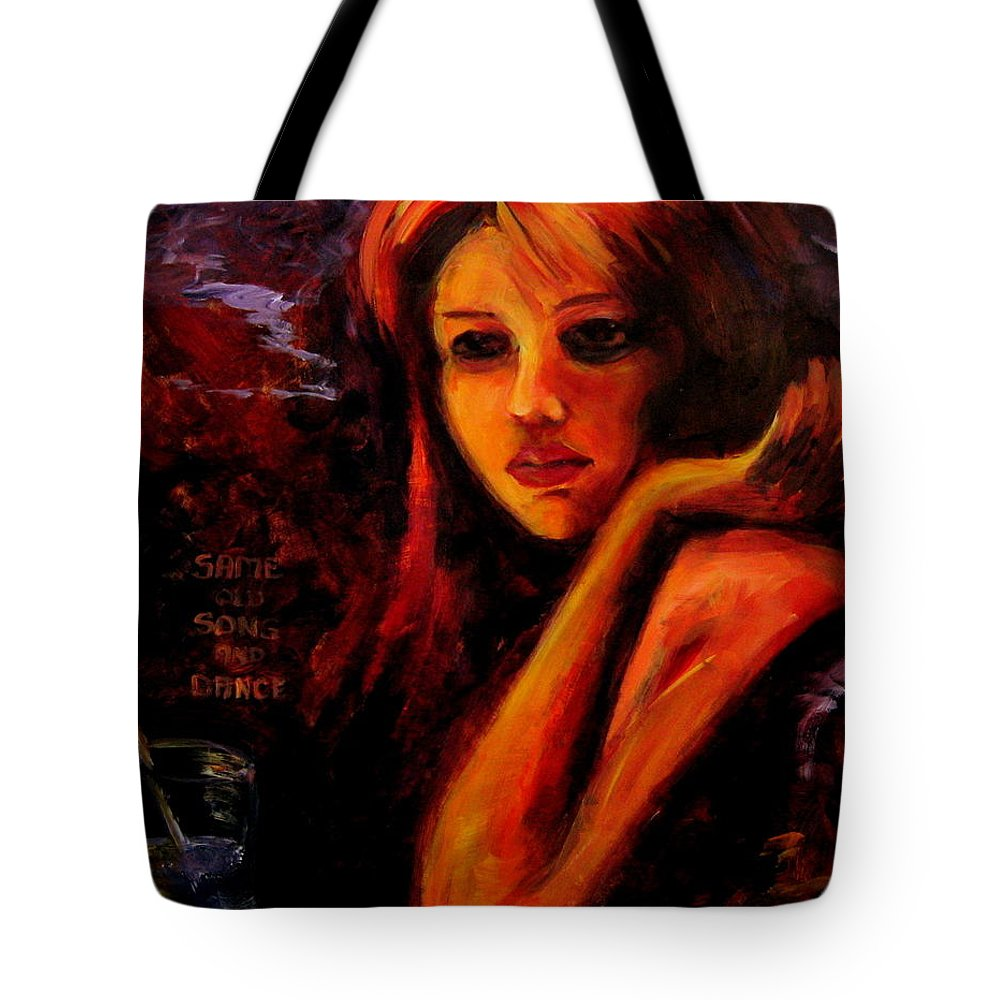 Woman Tote Bag featuring the painting Same Old Song And Dance by Jason Reinhardt