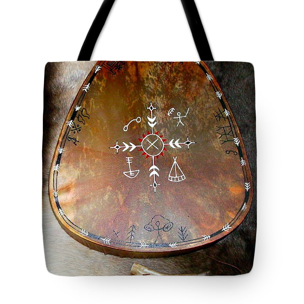 Saami Tote Bag featuring the photograph Sami Shaman Drum by Merja Waters