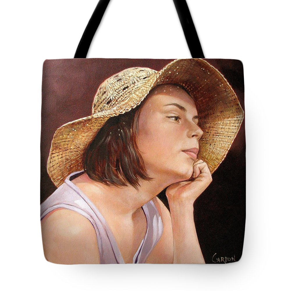 Portrait Tote Bag featuring the painting Sammie by Jerrold Carton