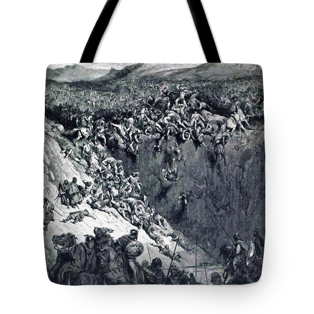 Samson Tote Bag featuring the painting Samson Destroys The Philistines With An Ass Jawbone by Dore Gustave