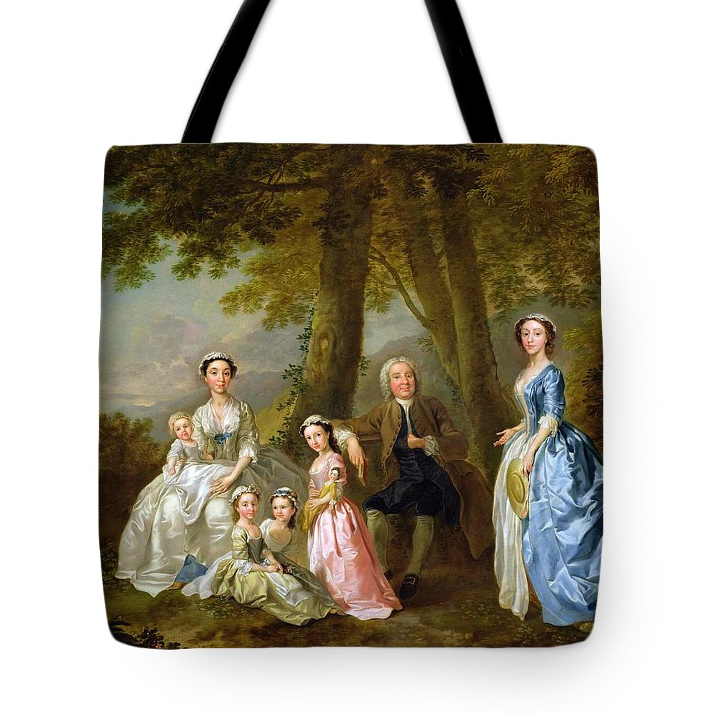 Samuel Tote Bag featuring the painting Samuel Richardson Seated With His Family by Francis Hayman