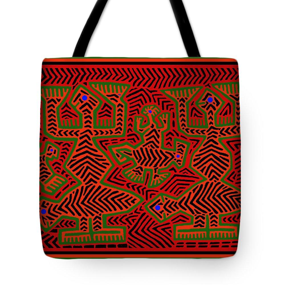 Mola Spirits Tote Bag featuring the digital art San Blas Shaman Spirits by Vagabond Folk Art - Virginia Vivier