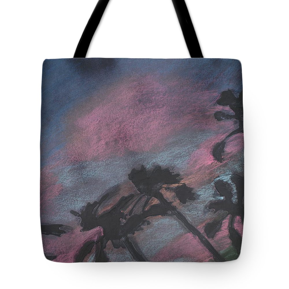 Contemporary Tree Landscapes Tote Bag featuring the drawing San Diego Palms by Leah Tomaino