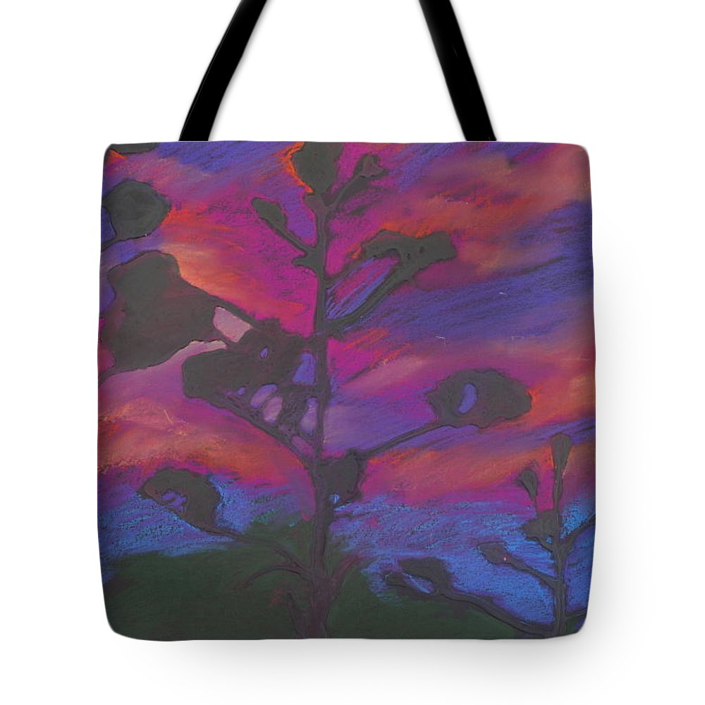 Contemporary Tree Landscape Tote Bag featuring the mixed media San Diego Sunset by Leah Tomaino