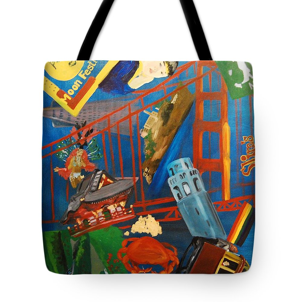 Golden Gate Bridge Tote Bag featuring the painting San Fran by Lauren Luna