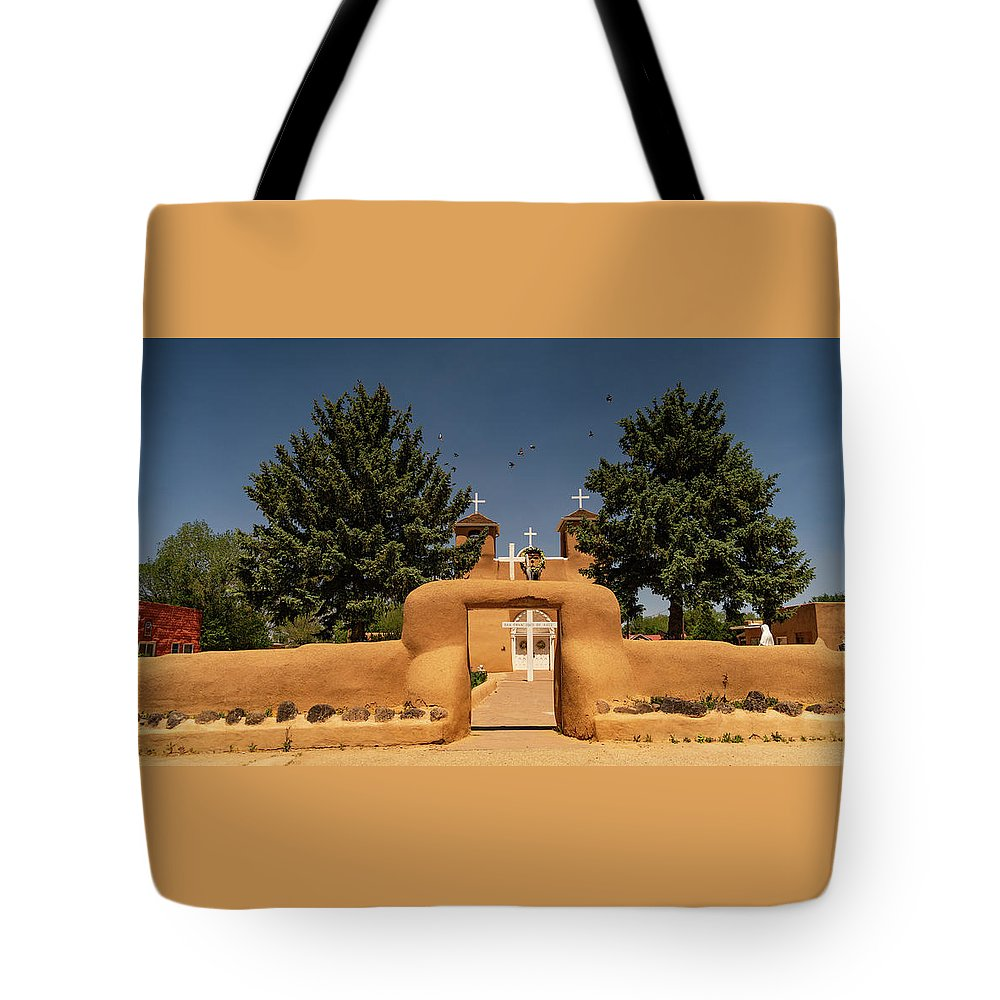 New Mexico Tote Bag featuring the photograph San Francisco De Assisi Mission Church Taos New Mexico by Lawrence S Richardson Jr