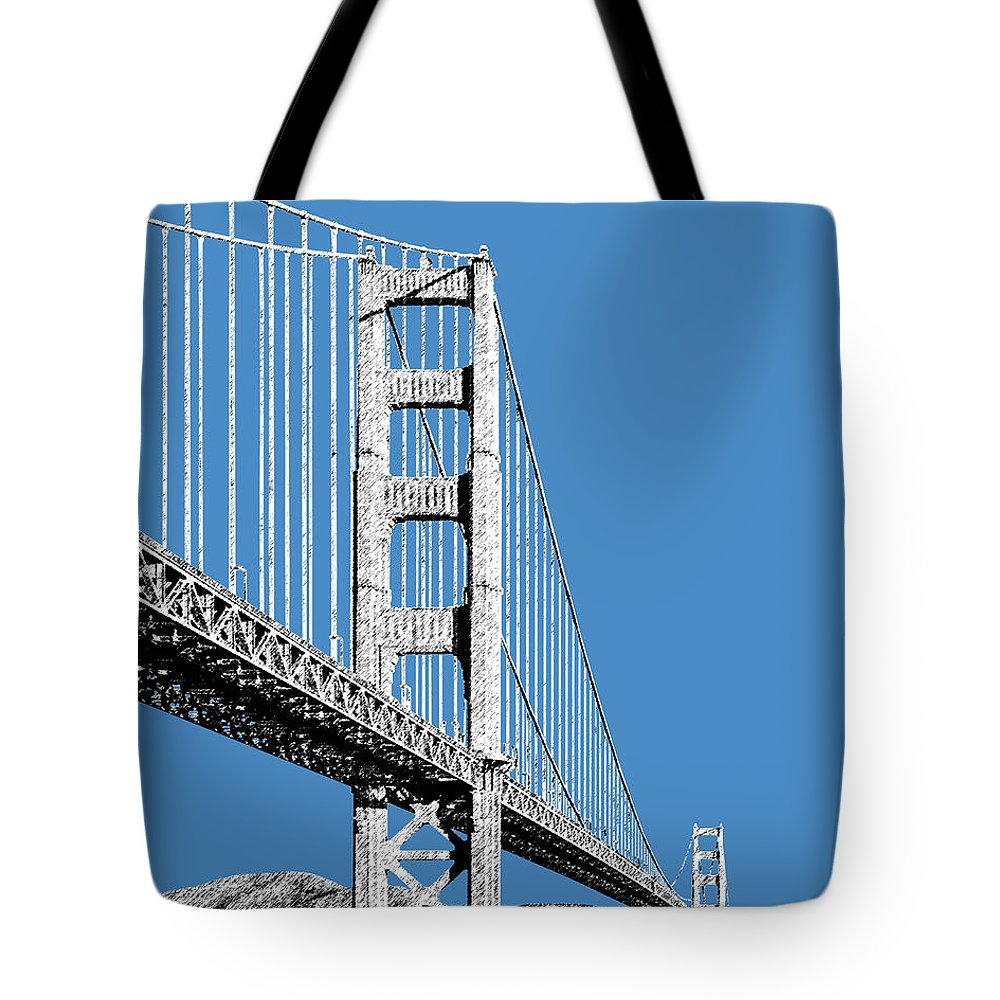 Architecture Tote Bag featuring the digital art San Francisco Skyline Golden Gate Bridge 2 - Slate Blue by DB Artist