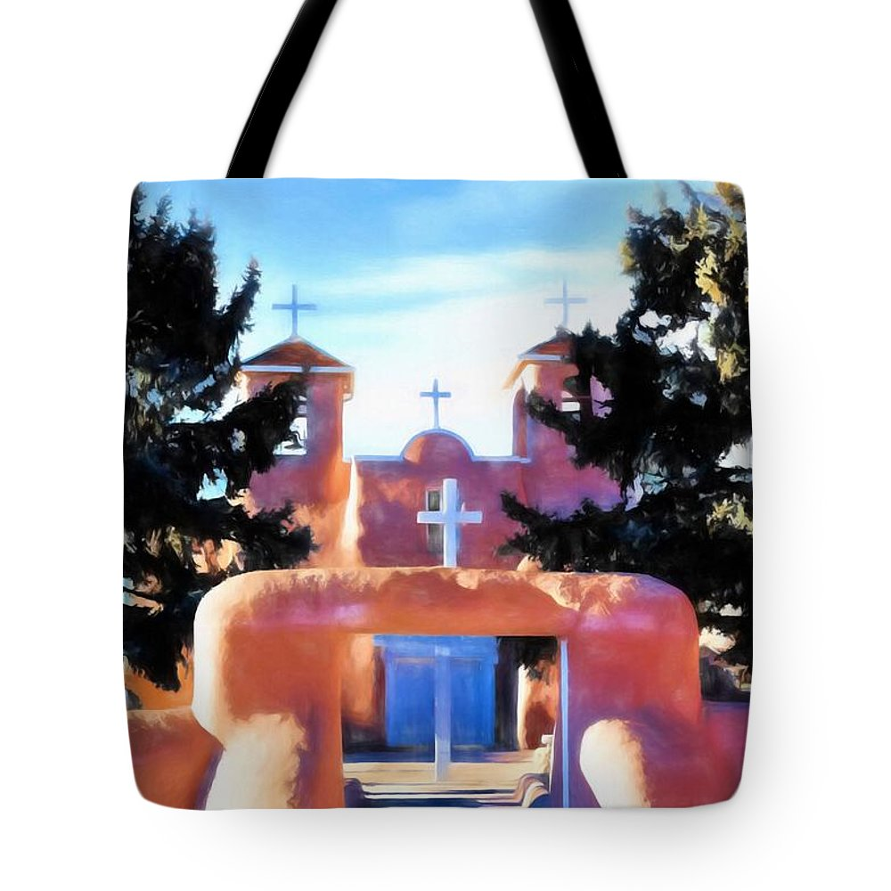 New Mexico Tote Bag featuring the painting San Fransisco De Asis by Jim Buchanan