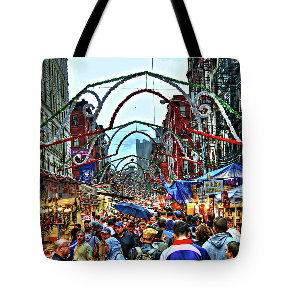 San Gennaro Tote Bag featuring the photograph San Gennaro Festival by Randy Aveille