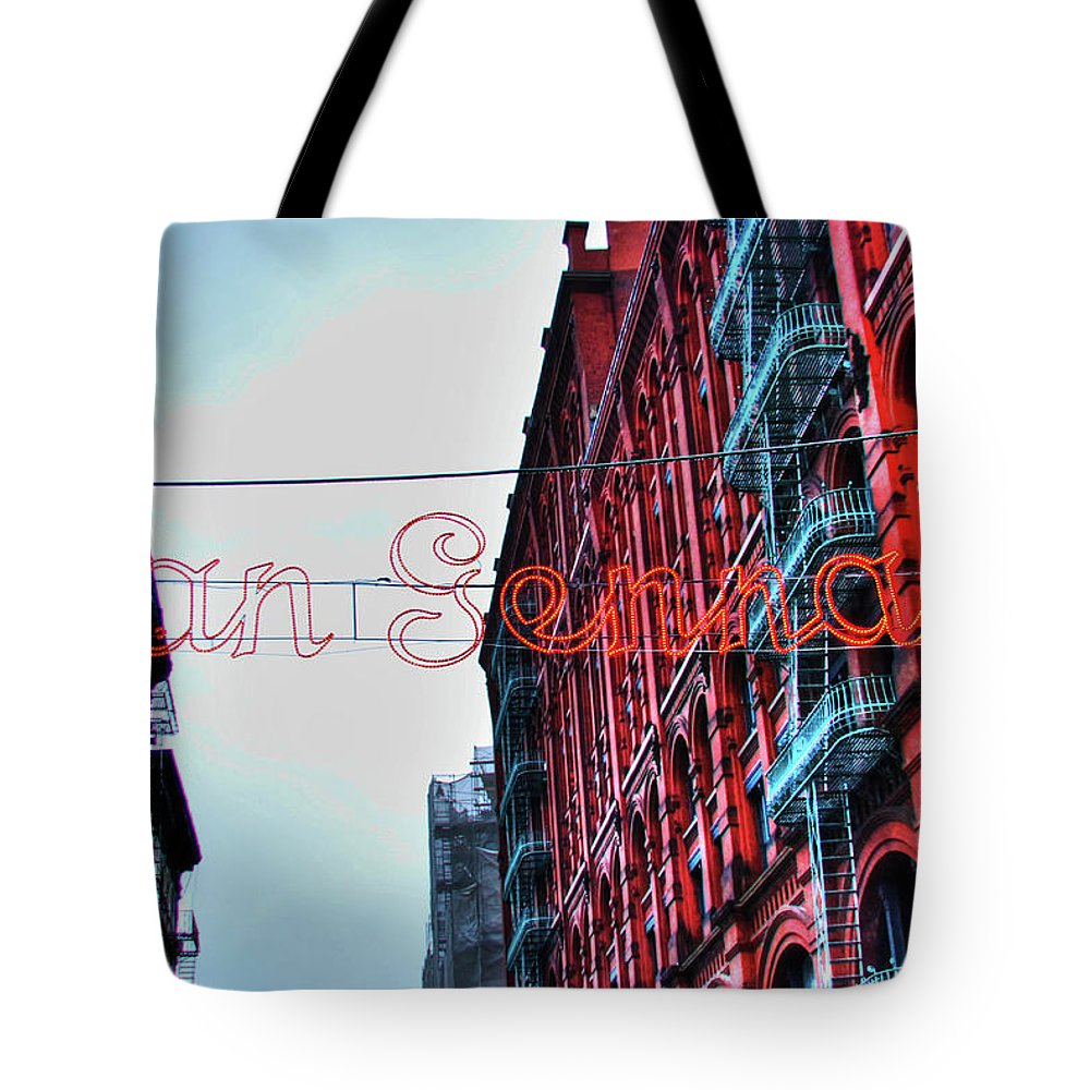 San Gennaro Festival Tote Bag featuring the photograph San Gennaro Festival Sign by Randy Aveille
