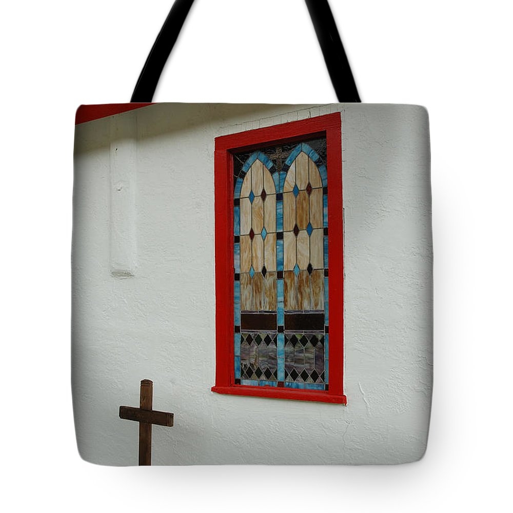 Church Tote Bag featuring the photograph San Iglesia Church Window by Jerry McElroy
