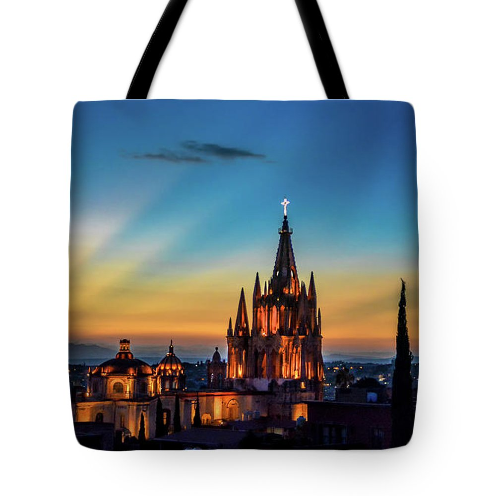 Sunset Tote Bag featuring the photograph San Miguel Sunset by David Meznarich
