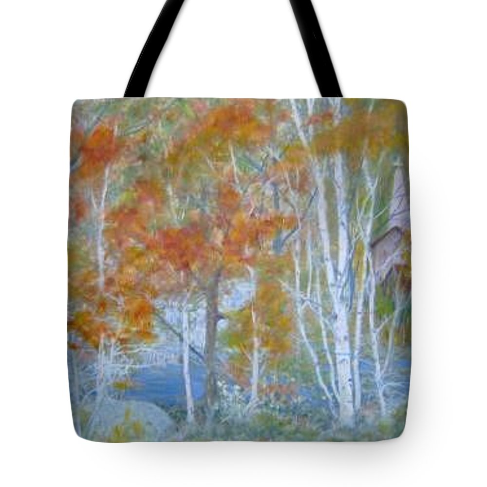 Church; Landscape; Birch Trees Tote Bag featuring the painting Sanctuary by Ben Kiger