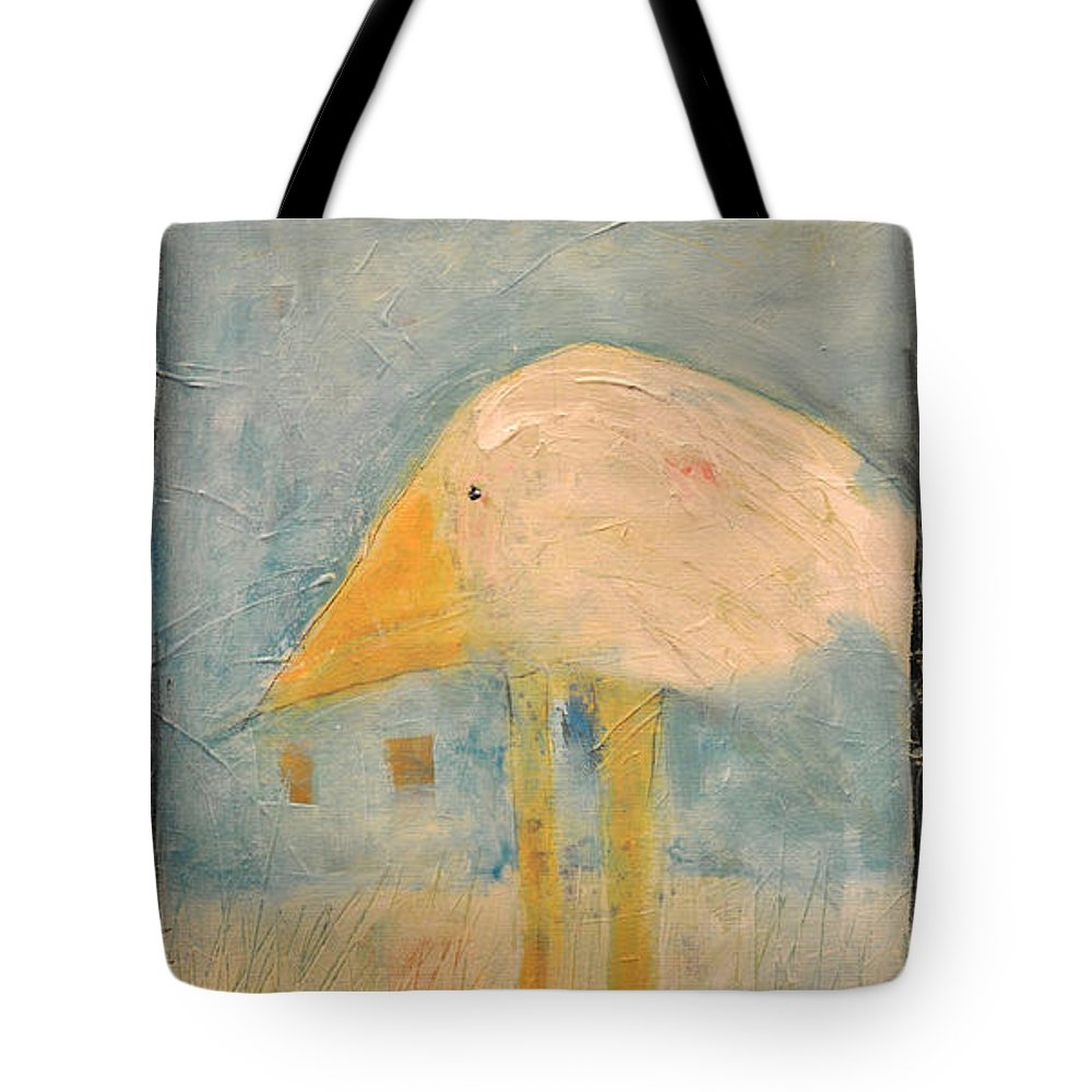 Humor Tote Bag featuring the painting Sanctuary Bird by Tim Nyberg