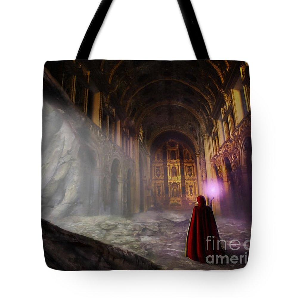 Arcane Tote Bag featuring the digital art Sanctum by John Edwards