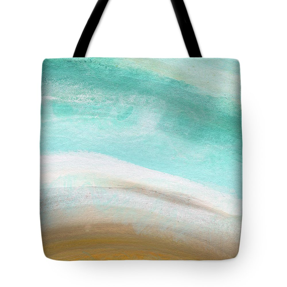 Beach Tote Bag featuring the painting Sand and Saltwater- Abstract Art by Linda Woods by Linda Woods