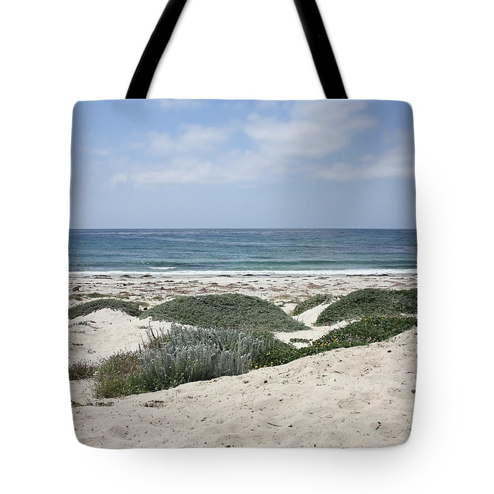 Sandy Beach Tote Bag featuring the photograph Sand And Sea by Carol Groenen