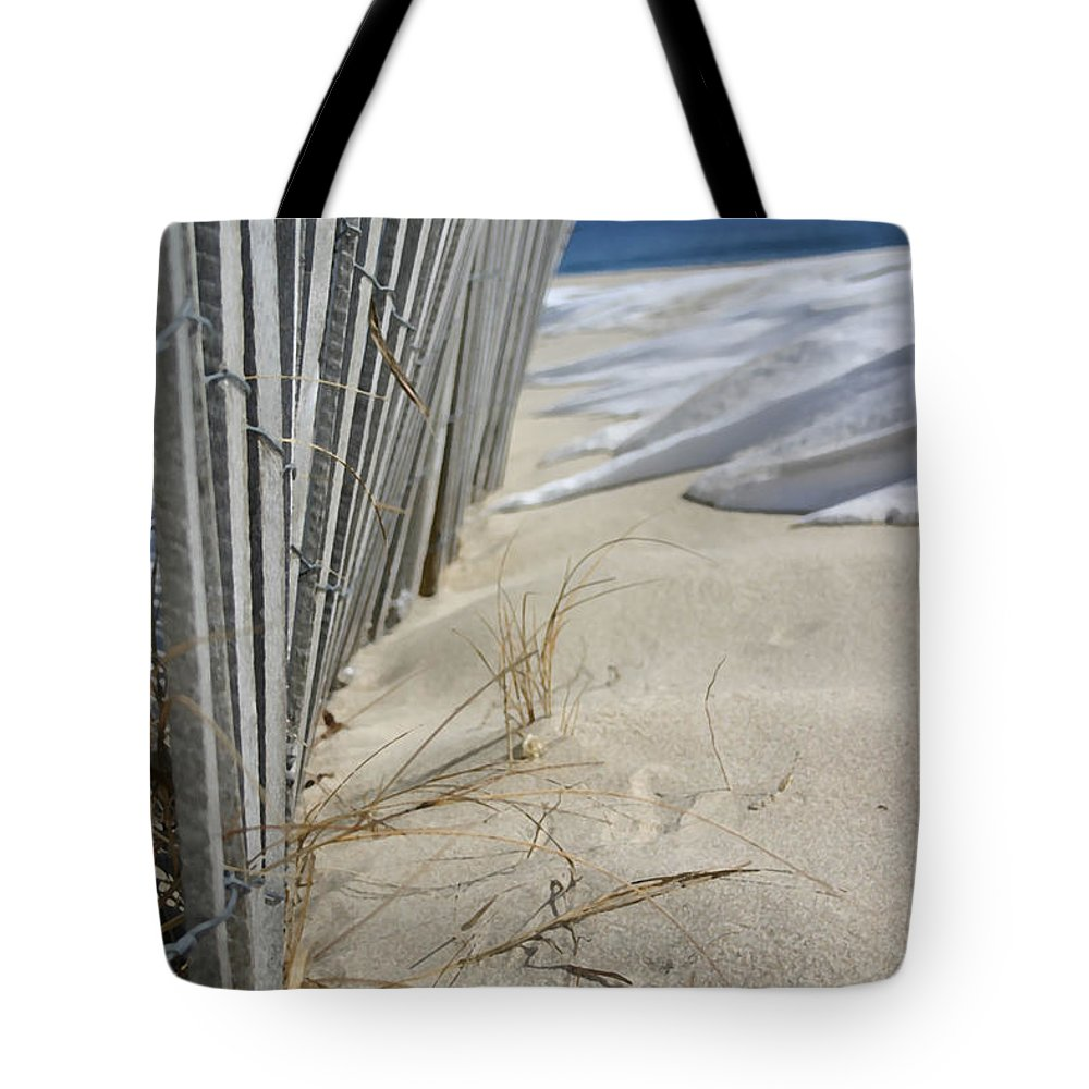 Seascape Tote Bag featuring the photograph Sand And Snow by Mary Haber