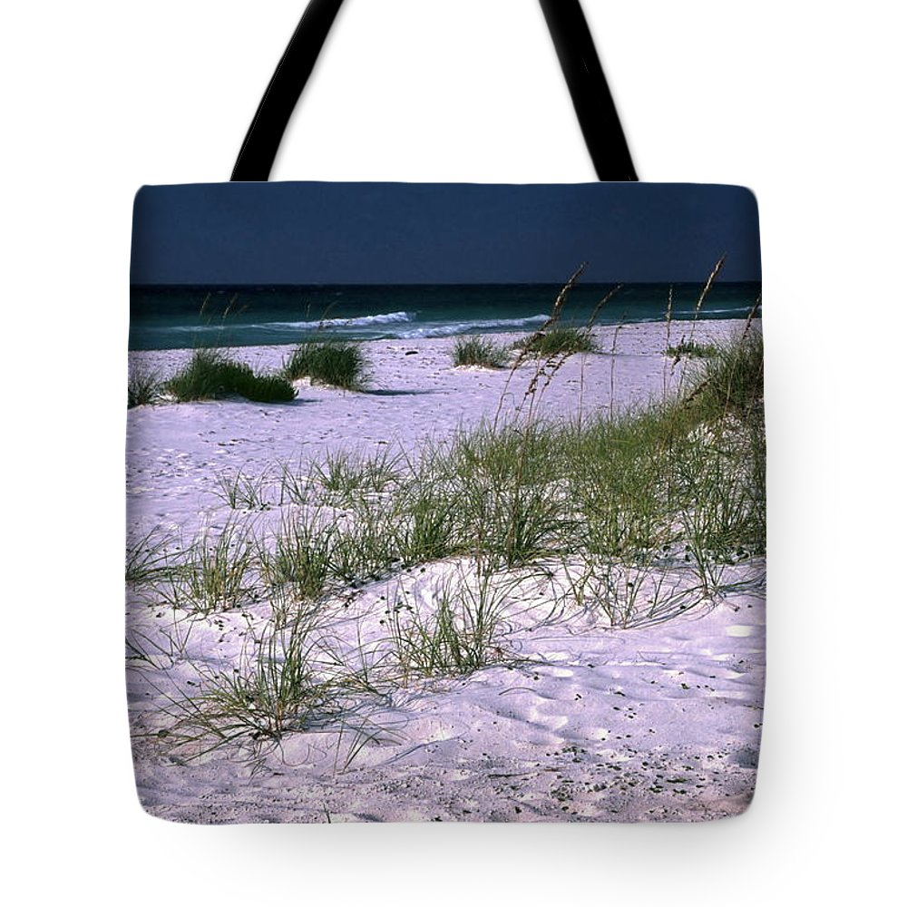 White Sand Beach Tote Bag featuring the photograph Sand Beach And Grass by Sally Weigand