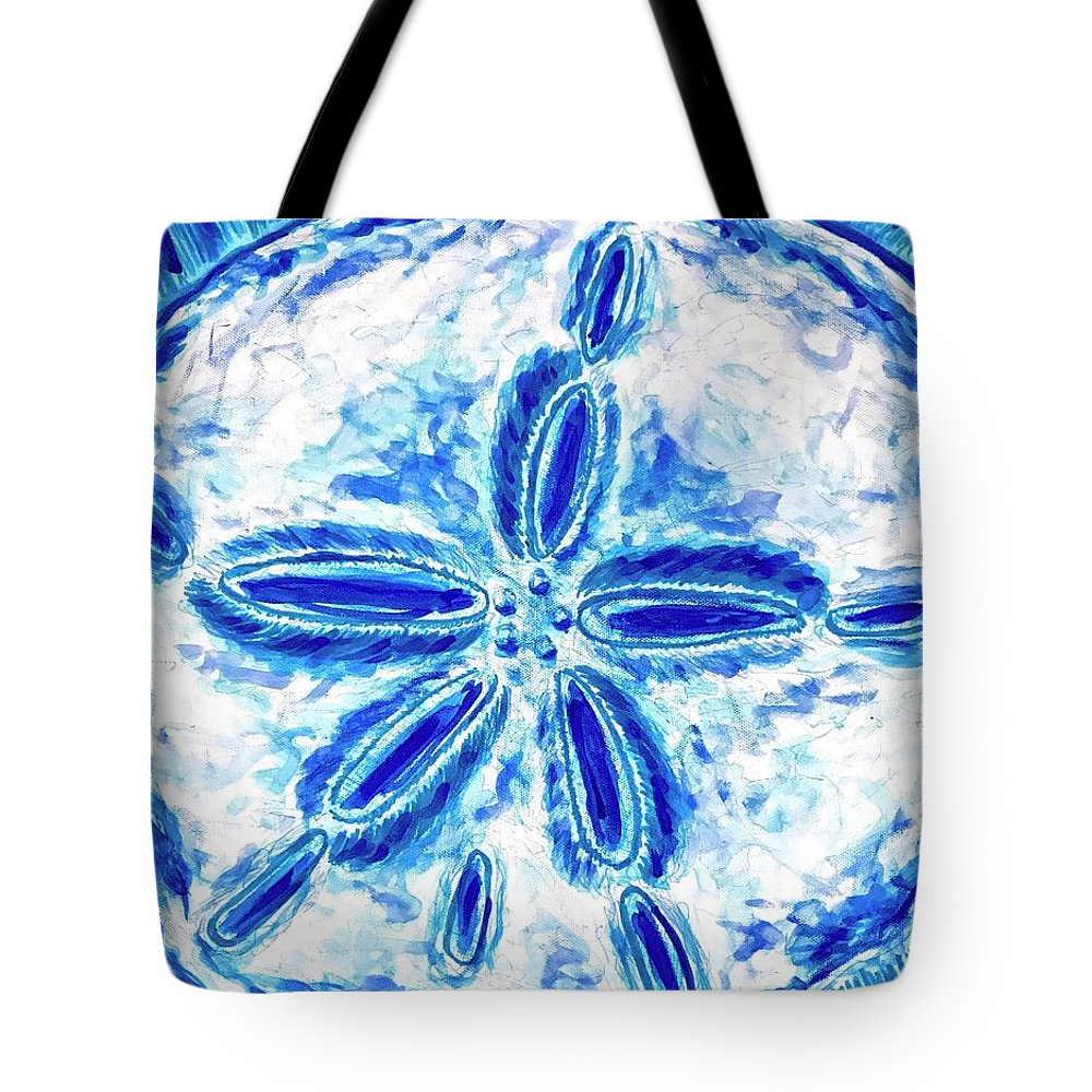 Sand Dollar Tote Bag featuring the painting Sand Dollar by Monique Faella