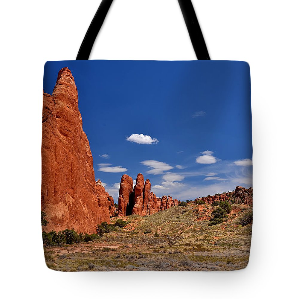 Arches Tote Bag featuring the photograph Sand Dune Arch 4 by Richard J Cassato