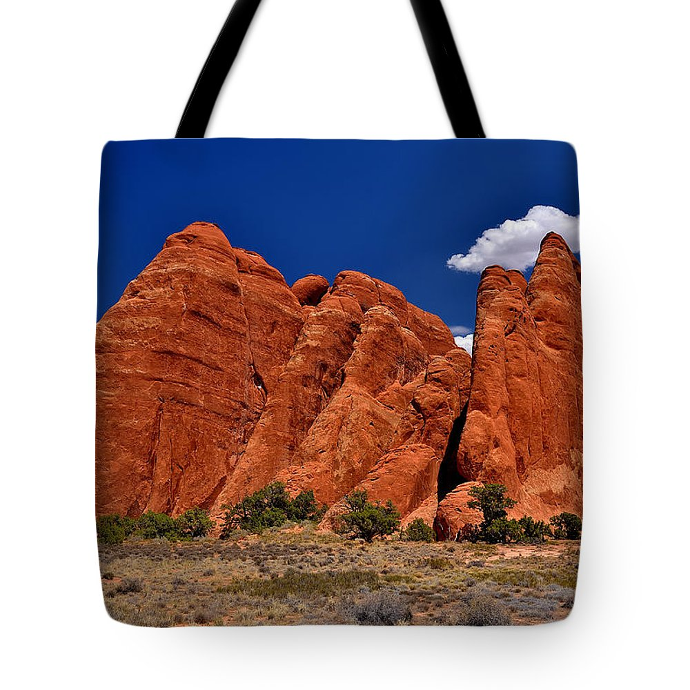 Arches Tote Bag featuring the photograph Sand Dune Arch by Richard J Cassato