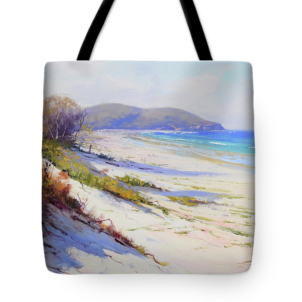 Port Stephens Tote Bag featuring the painting Sand Dunes Port Stephens Nsw by Graham Gercken
