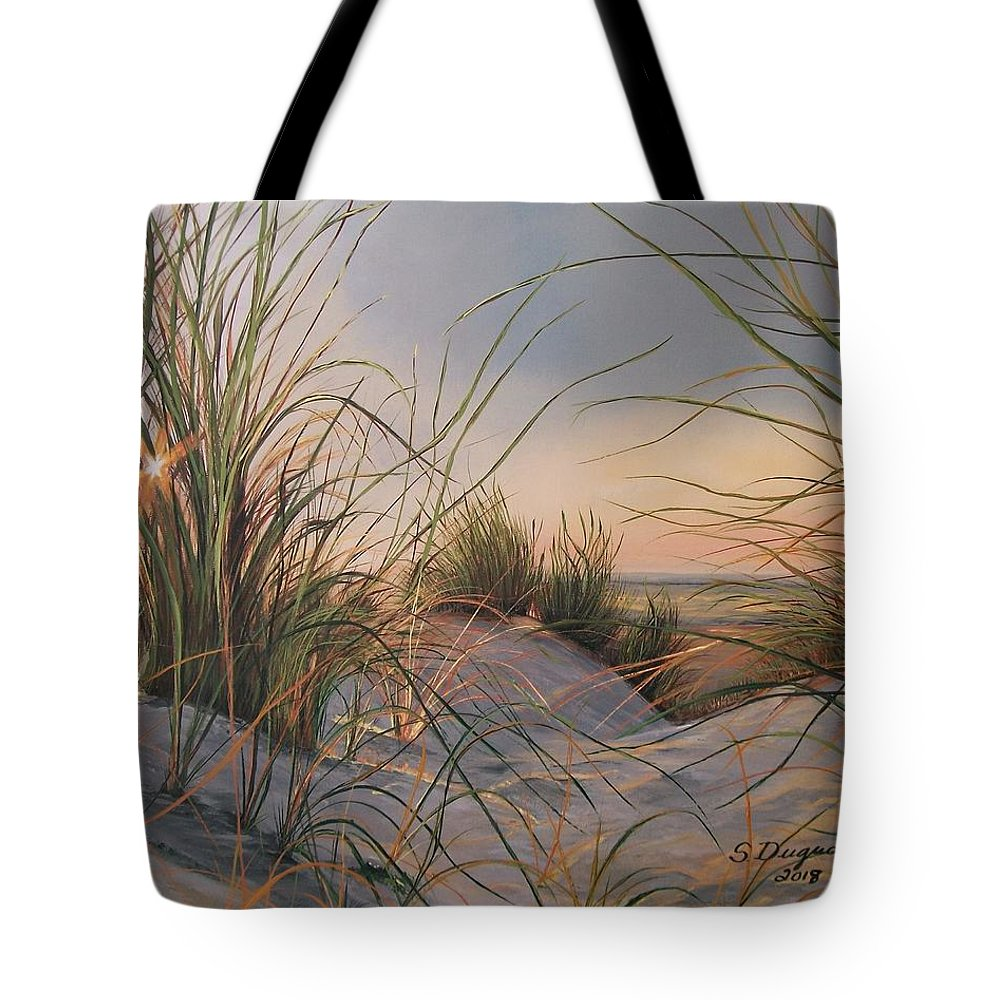 Tranquil Tote Bag featuring the painting Sand Dunes by Sharon Duguay
