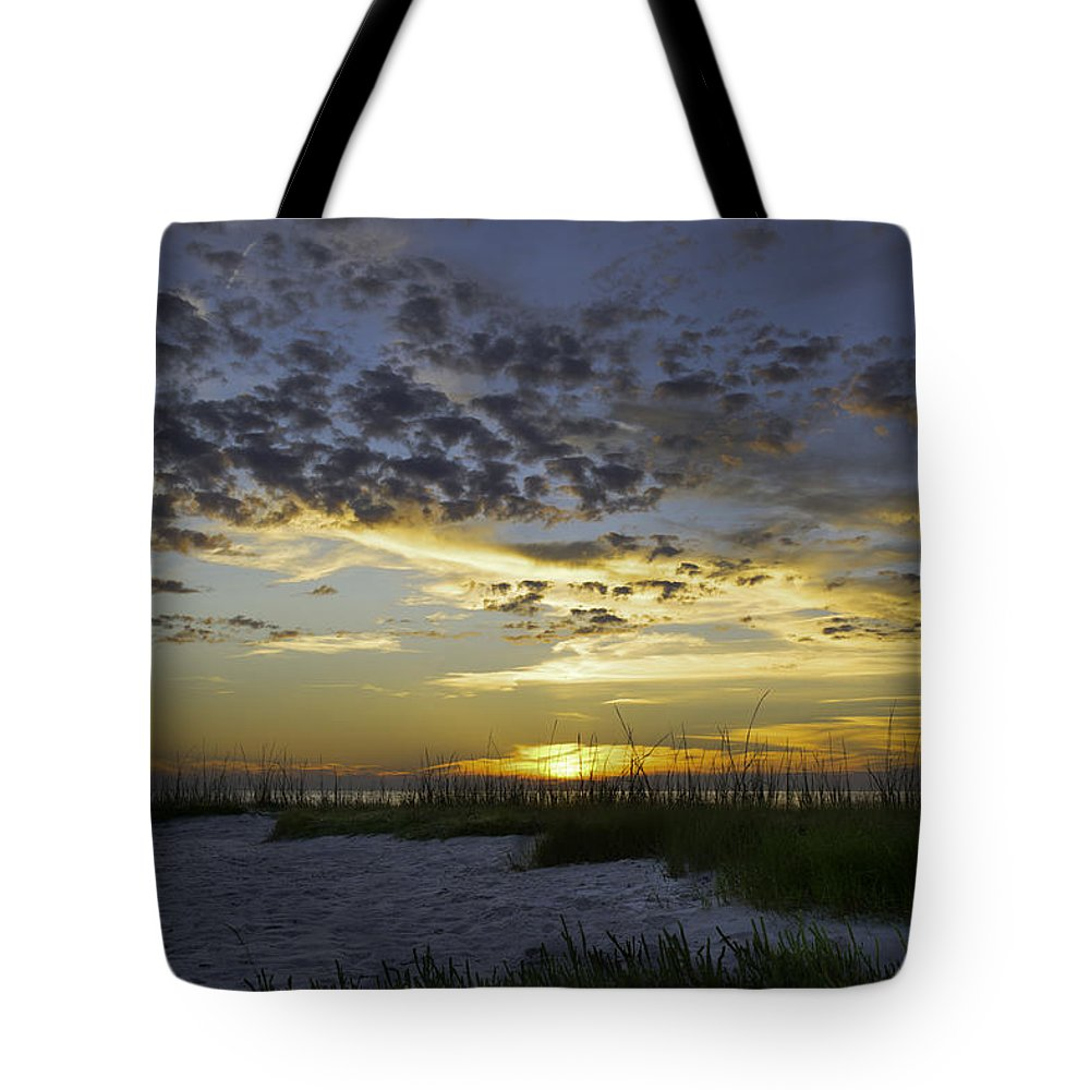 Sunset Tote Bag featuring the photograph Sand N Sunset by Mary Clough