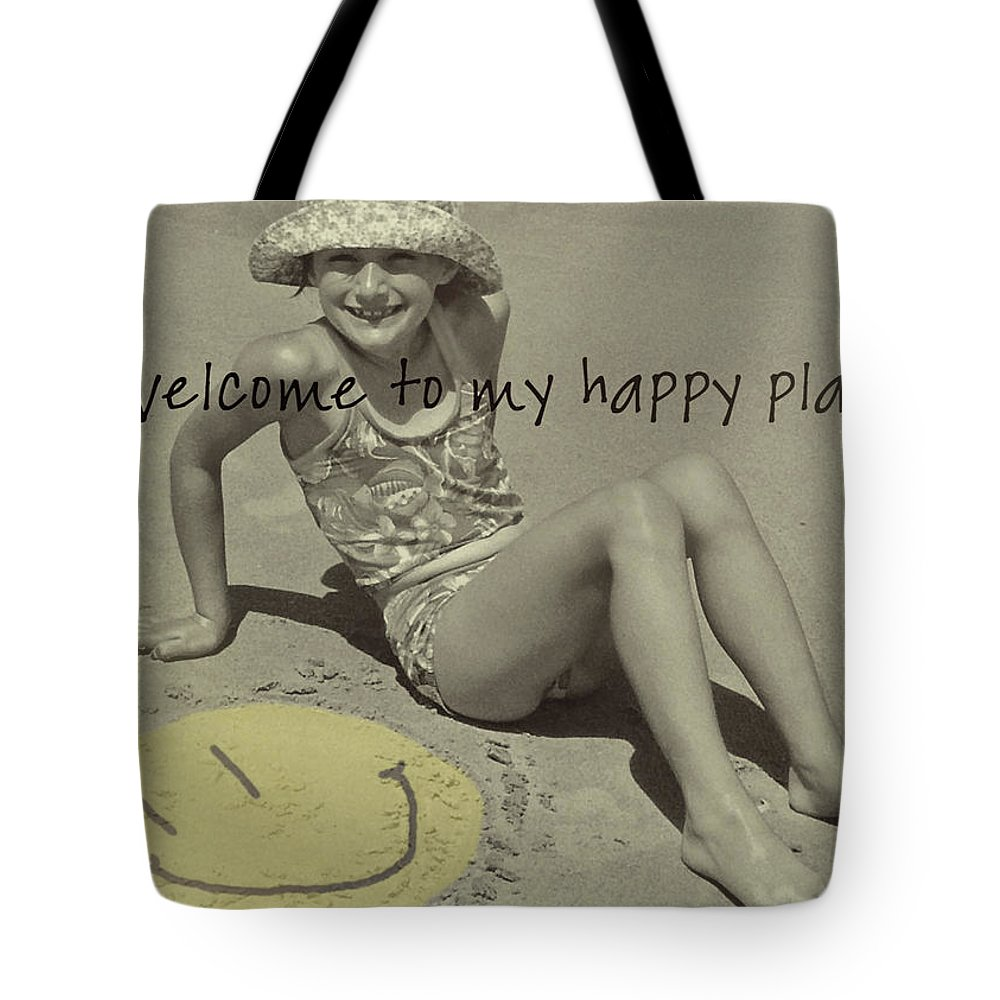 Beach Tote Bag featuring the photograph Sand Smile Quote by JAMART Photography