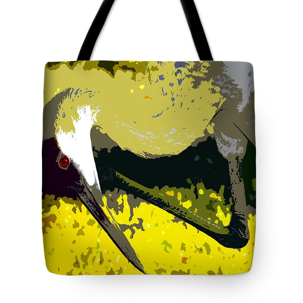 Sand Hill Crane Tote Bag featuring the painting Sandhill Scratching by David Lee Thompson